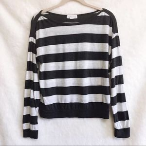 Forever 21 Gray and White Striped Long Sleeve Top